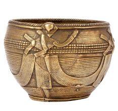 Golden Tribal Brass Bowl Wire Work Religious Prayer