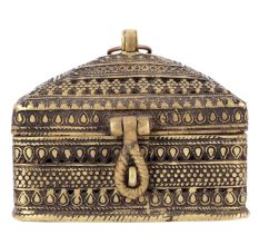 Dhokra Engraved Brass Jewellery Box