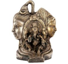 Brass Shiv Parvati with Ganesha Statue
