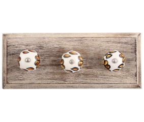 Brown Hibiscus Flower Ceramic Wooden Hooks