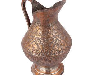 VintageRepousse Copper Water Pitcher Jug