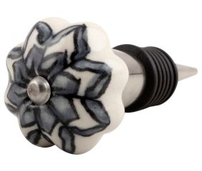 Grey Dahlia Medium Ceramic Wine Stopper