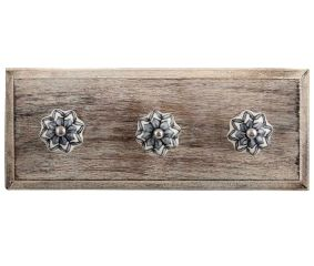 Grey Dahlia Medium Ceramic Wooden Hooks