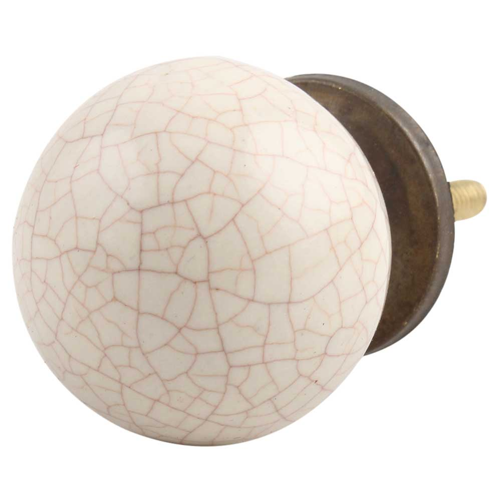 Cream Flat Round Crackle Drawer Knob