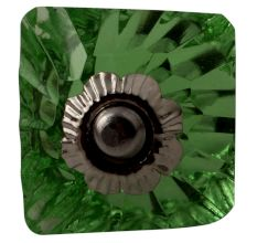 Green Glass Square Cut Cabinet Knob Online