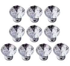 IFOLAINA Pack of 10 Crystal Glass Pull Handle Mini Diamond Crystal Cabinet Knob Cupboard Drawer Handles White