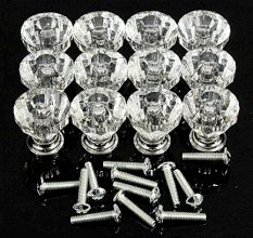 12pcs 25mm Diamond Shape Crystal Glass Cabinet Knob Cupboard Drawer Pull Handle