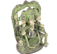 Brass Three Headed Ganesha Sculpture�with Patina
