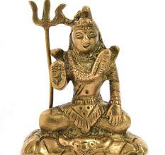 Rustic Brass Lord Shiva Meditation Statue