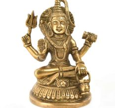 Brass Neelkanth Shiva Siting with Kamandal Trishul Statue