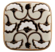 Black Sea Shell Square Ceramic Cabinet Knob Online