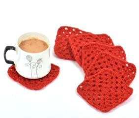Red Square Handmade Woolen Coasters Pack Of 6