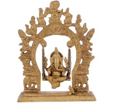 Brass Ganesha Sitting On A Swing With Beautiful Prabhavali