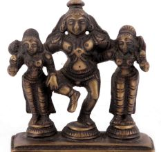 Brass Dancing Krishna with Rukmani and Satyabhama