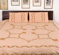 Peach  Cotton Orange Petals Embroidered Double Bedsheet with Two Matching Pillow Case