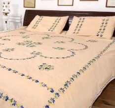 Banana Mania  Double Cotton Blue Petals Floral Design Bedsheet With Two Matching Pillow Covers