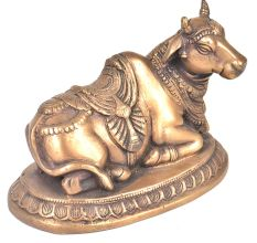Hand Engraved Bronze Sitting Nandi Statue