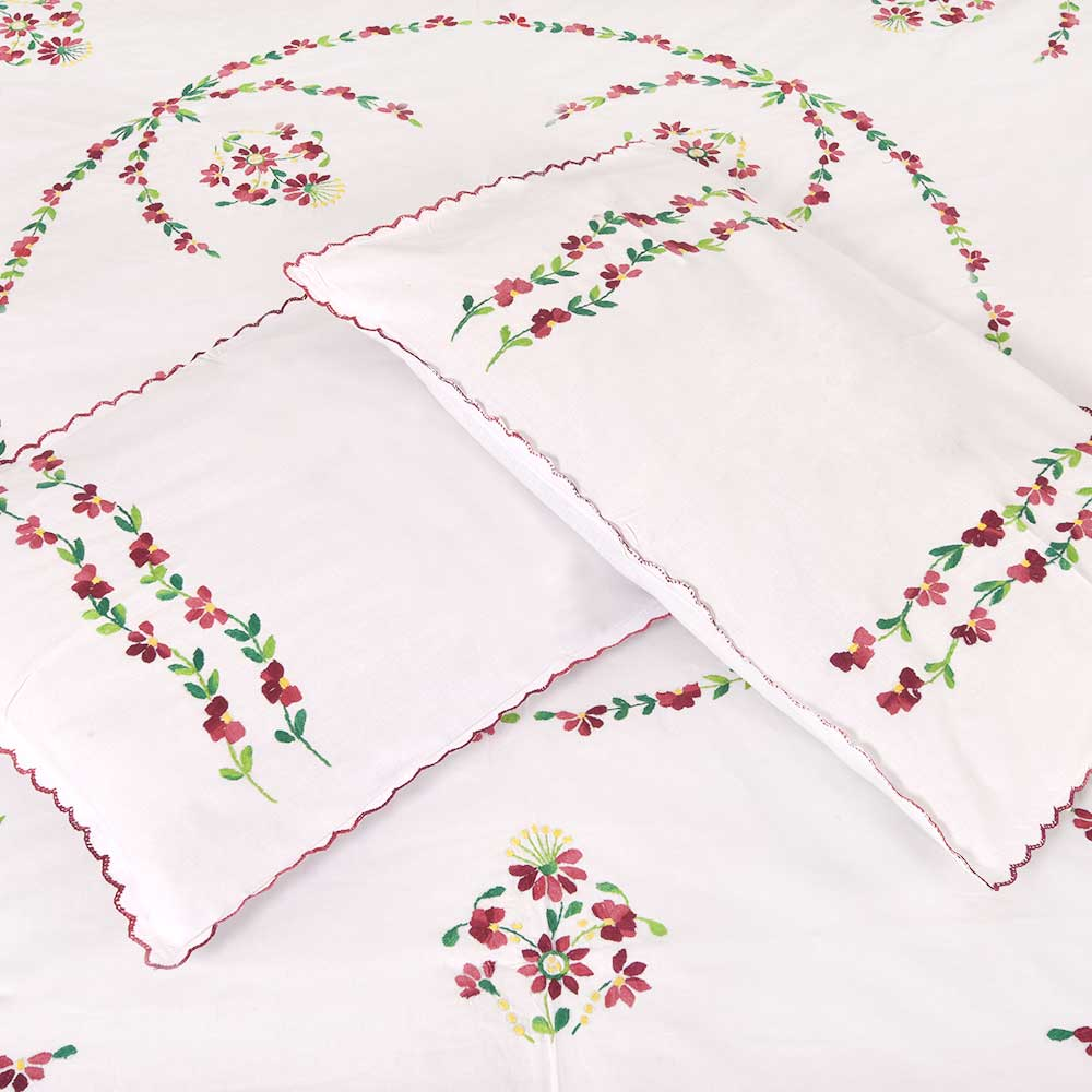 Hand  Embroidered Cotton White Double Bed Sheet Red Petals with 2 Pillow Covers