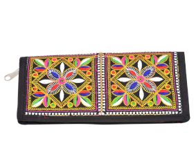 Banjara Black Border Hand Embroidered Clutch Purse