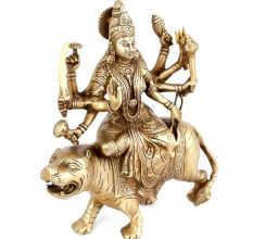 Brass Durga Maa Figurine Sitting On A Tiger