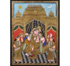 Krishna Bama Rukmani Tanjore Painting With Frame