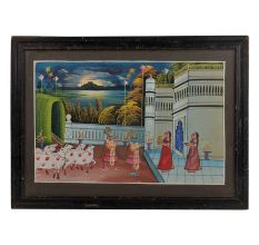 Krishna Welcomed by Gopis Miniature Painting With Frame