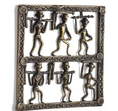 Bronze Tribal Wall Art Hanging 6 Men Holding Wood In Different Ways