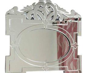 Oval Shaped Venetian Mirror in Rectangular Frame