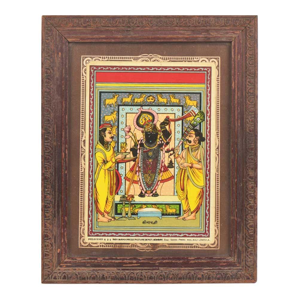 Hand Painted Framed Shrinathji Painting Nathwadara