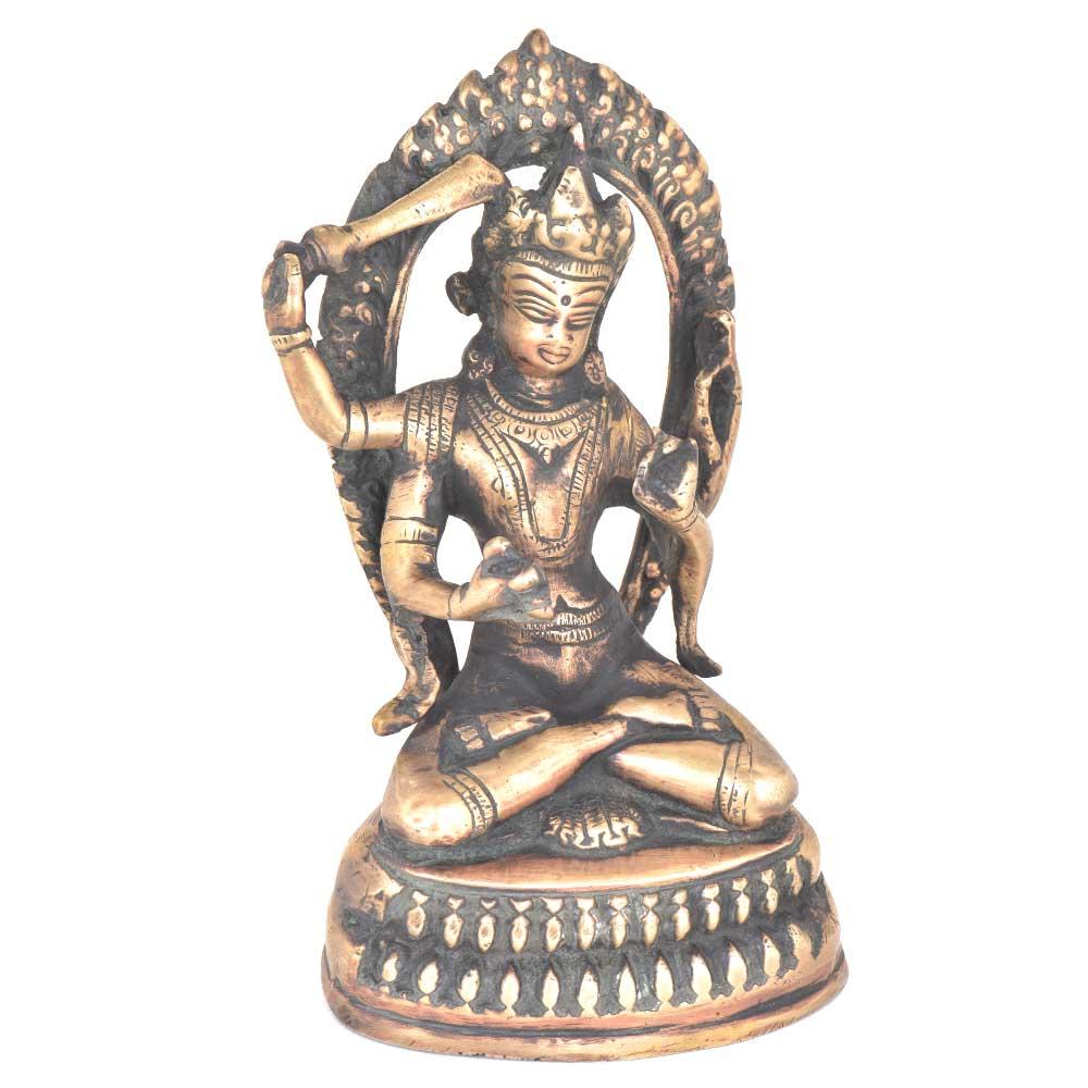 Tibetan Buddhist Manjusri Buddisattva Brass Buddha Statue