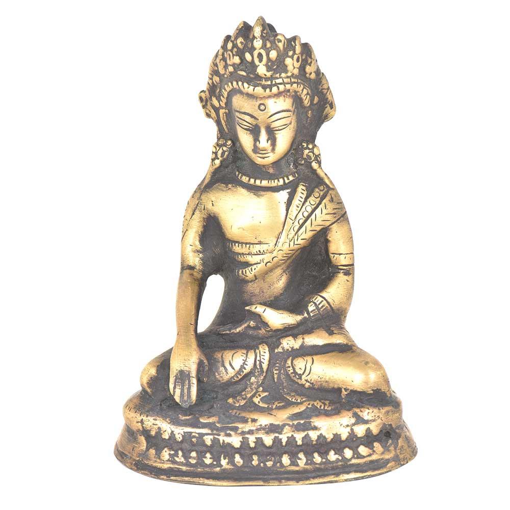 Brass Crowned Shakyamuni Buddha Statue
