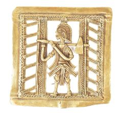 Dhokra Brass Farmer With Axe Wall Hanging
