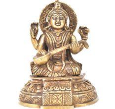 Brass Goddess Sarswati Sitting On A Raised Platform