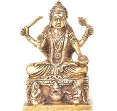 Brass Santoshi Mata Sitting On A Raised Paltform