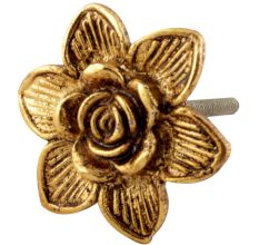 Golden Rose Flower Metal Cabinet Knob