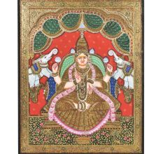 Tanjore Painting of Gajalaxmi With Embellishments