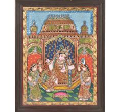 Framed Krishna With Satyabhama and Rukmani Tanjore Painting