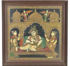 Krishan Shringar Tanjore Paintinng With Frame
