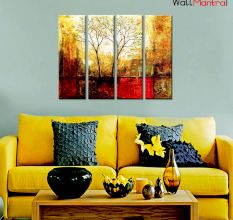 Twin Trees Premium Quality Canvas Wall Hanging