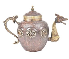 Copper & Brass Tea Pot With Fine Engraving