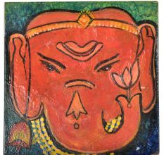 Ganesha Face Painted Ceramic Tile