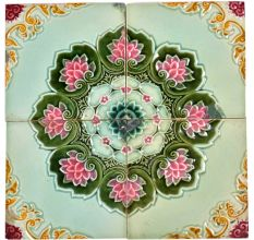 Lotus Border Backsplash Ceramic Wall Tile Set of 4