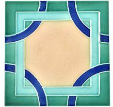 Blue Shades Ceramic Geometric Design Tile