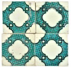 Blue Vintage Old Designer Ceramic Tile Set of 4