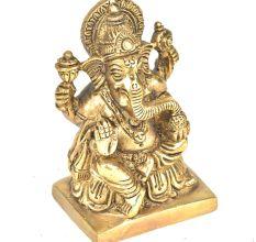 Brass 4 Hand Ganesha Sitting On a Raised Platform