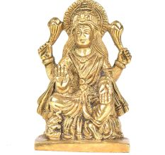 Brass Gaja Lakshmi Sitting On A Lotus