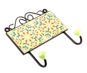 Yellow And Forest Green Leaf Ceramic Floral Tiles Hooks