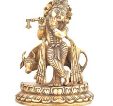 Brass Statue Of Lord Krishna Playing Flute With Cow