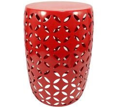 Metal Stool & Plant Stand - Red