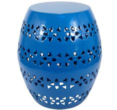 Sonia Floral Stool Blue